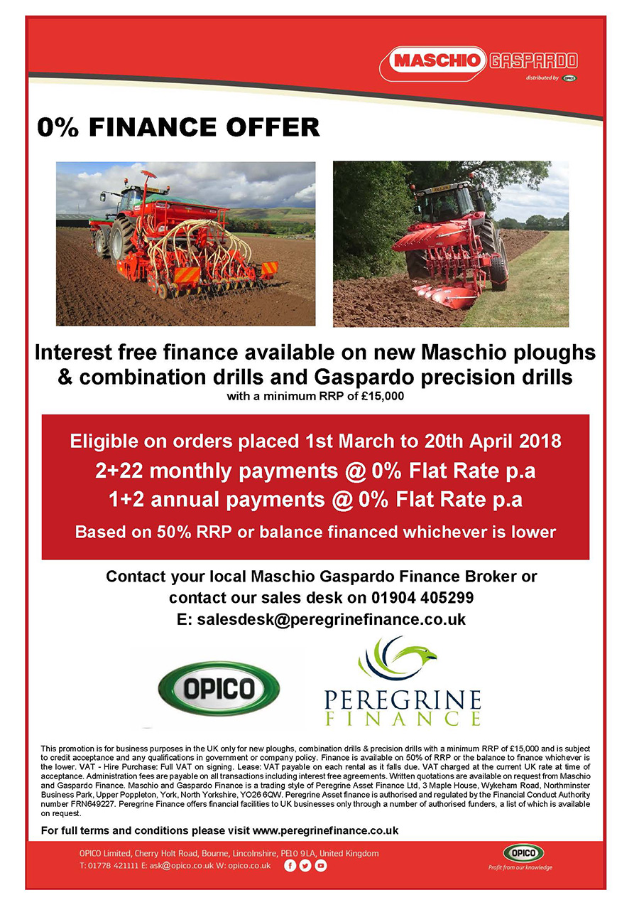 Maschio Gaspardo 0% Finance - Plough, Seed Drills and Precision Drills